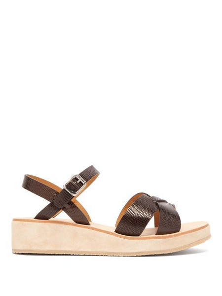 A.P.C. A.p.c. - Originales Leather And Suede Platform Sandals - Womens - Dark Brown