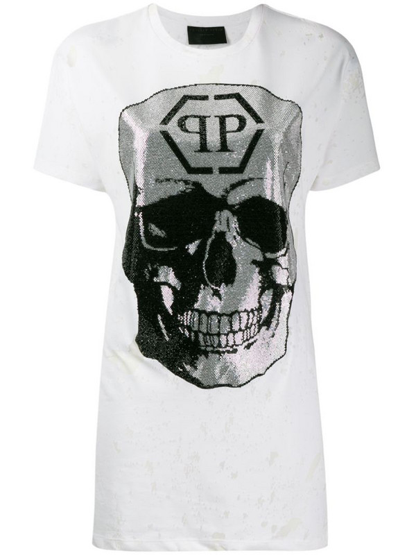 Philipp Plein destroyed skull T-shirt in white