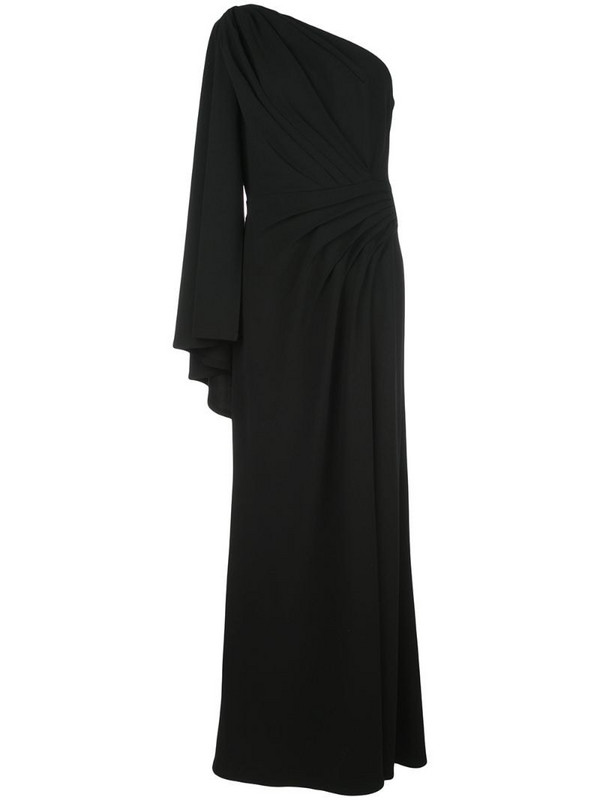 Tadashi Shoji pleated one-shoulder gown in black