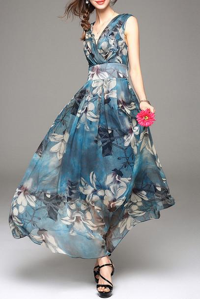 dress floral fashion summer maxi dress beautiful flowy spring dezzal