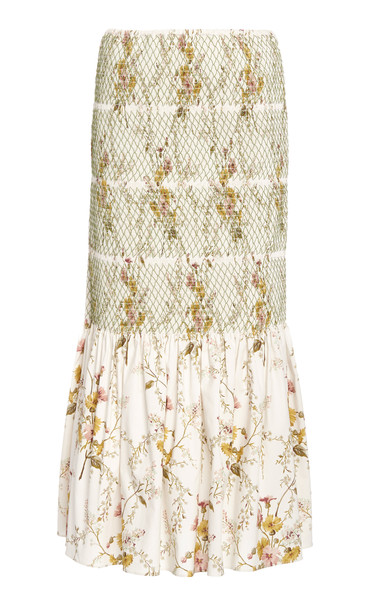Brock Collection Smocked Cotton-Blend Skirt in white