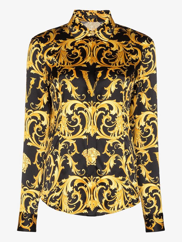 Versace VERSACE TOP SHRT CLLR LS BAROQUE PRNT SL in black