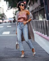 top,tank top,high waisted jeans,sandals,snake print,cardigan,white bag