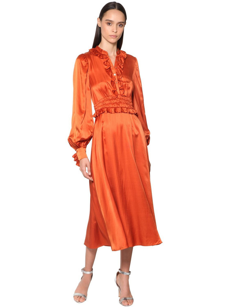 TEMPERLEY LONDON Ruffled Satin Shirt Midi Dress