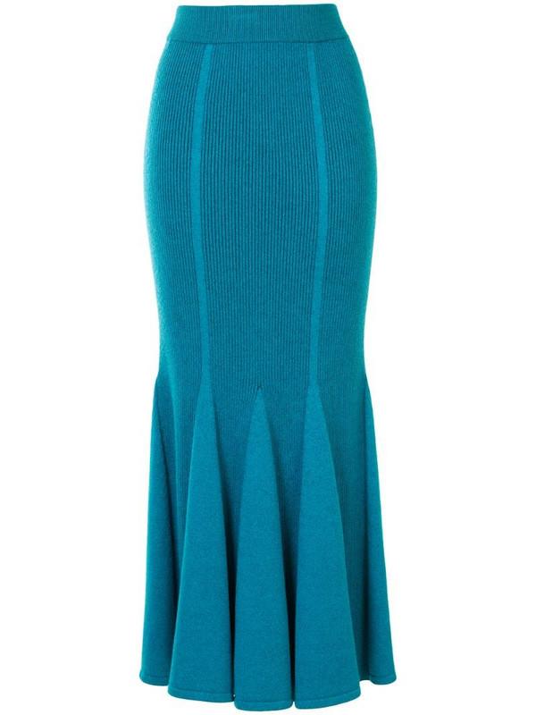Carolina Herrera ribbed knitted pleated skirt in blue