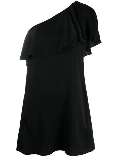 Saint Laurent ruffled one-shoulder dress in black