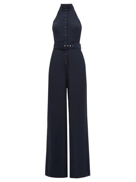 Zimmermann - Espionage High Neck Silk Jumpsuit - Womens - Navy