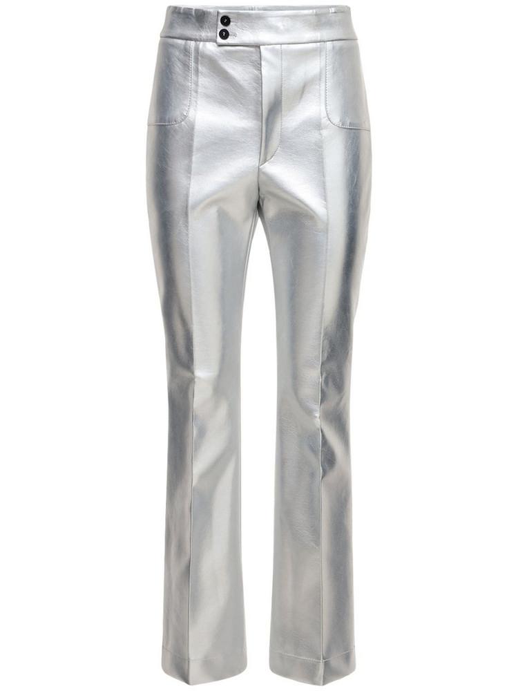 PHILOSOPHY DI LORENZO SERAFINI Metallic Faux Leather Flared Pants in silver
