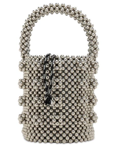 SHRIMPS Poppy Beaded Top Handle Bag in silver