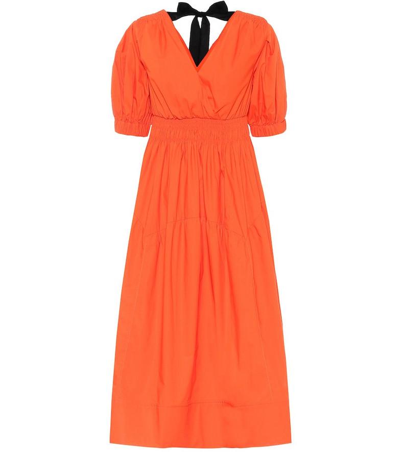 Self-Portrait Cotton-poplin minidress in orange