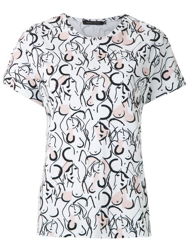 Andrea Marques printed batwings T-shirt in white