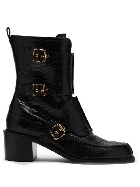 Stella Mccartney - Crocodile Effect Faux Leather Boots - Womens - Black