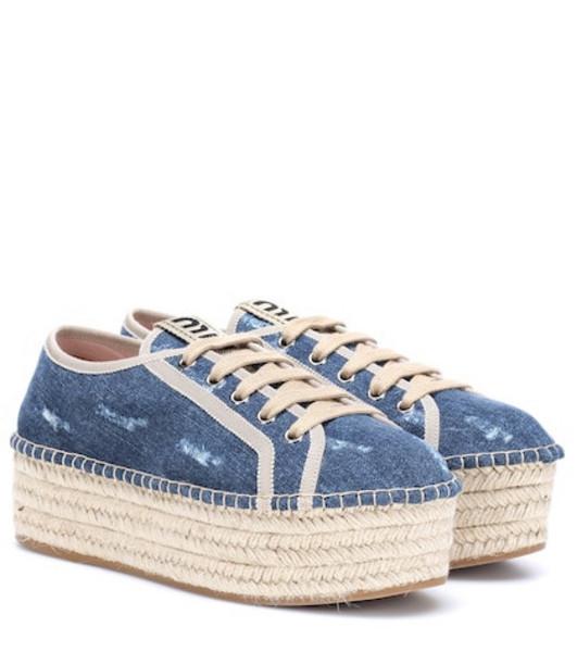 Miu Miu Denim espadrille platform sneakers in blue