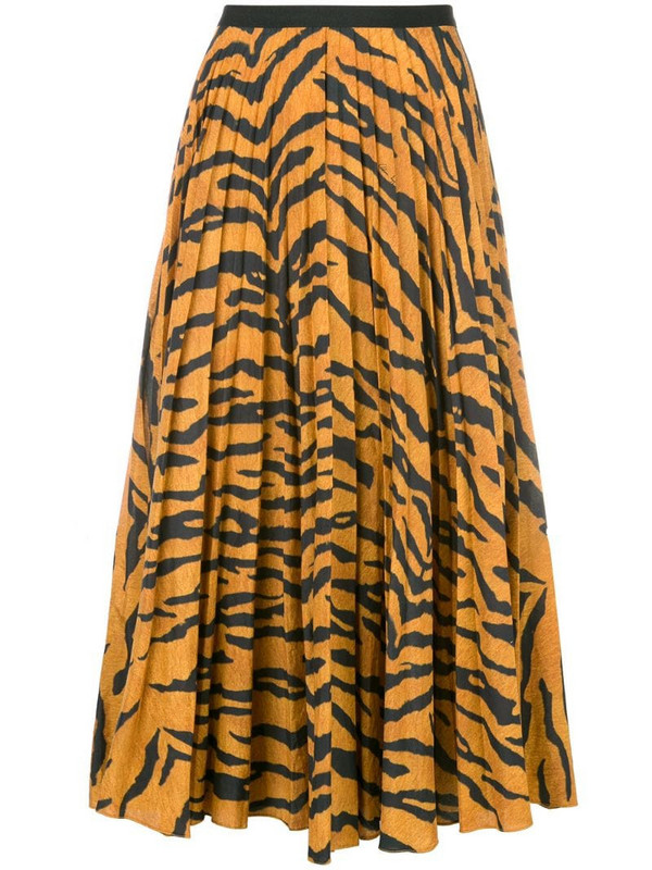 Adam Lippes tiger print pleated skirt in orange