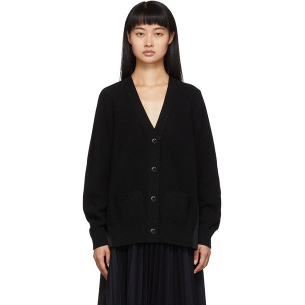 Sacai Black Knit Wool Cardigan