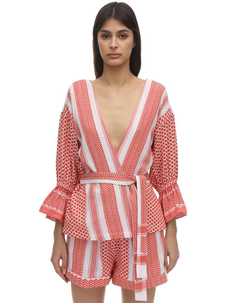 CECILIE COPENHAGEN Ulrikke Cotton Kimono Jacket in coral
