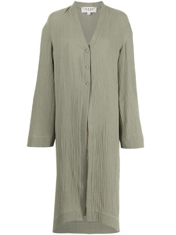 0711 Akari long cotton shirt in green