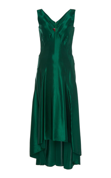 Sies Marjan Miriam Asymmetrical Satin Midi Dress Size: 2