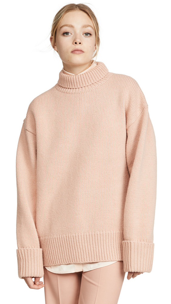 Victoria Victoria Beckham Relaxed Funnel Neck Sweater in pink