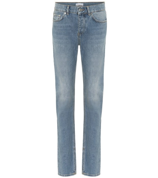 Ganni Mid-rise slim straight jeans in blue