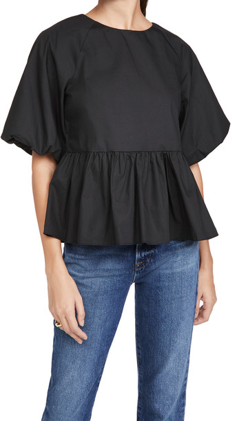 ENGLISH FACTORY Short Balloon Sleeve Top in black