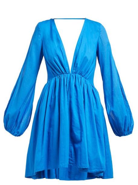 Kalita - Aphrodite V Neck Cotton Poplin Dress - Womens - Blue
