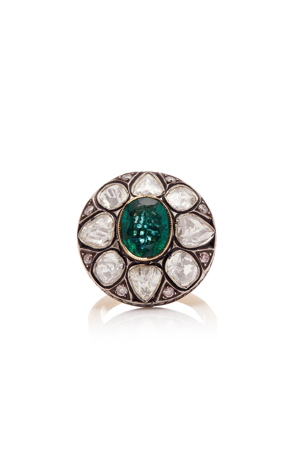Amrapali 14K Gold Emerald And Diamond Ring in green
