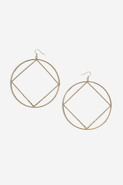 Topshop Diamond Hoop Earrings - Gold