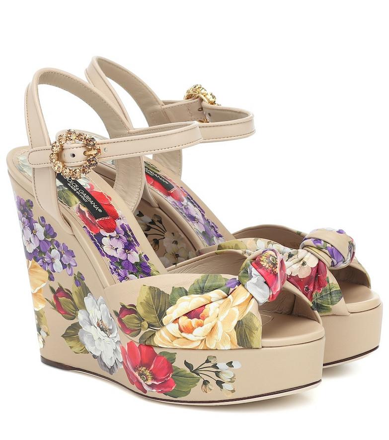 Dolce & Gabbana Bianca floral wedge sandals in beige