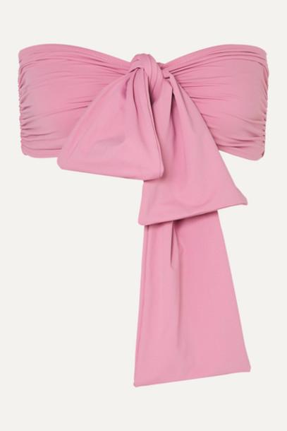 BONDI BORN - Neve Tie-front Bikini Top - Pink