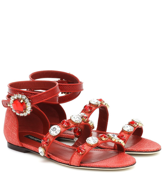 Dolce & Gabbana Embellished leather sandals in red