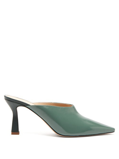 Wandler - Lotte Leather Mules - Womens - Dark Green