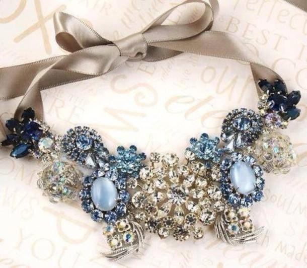 jewels chic diamonds turquoise satin