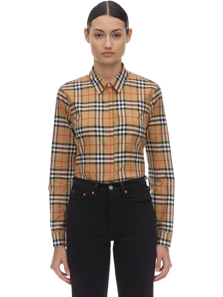 BURBERRY Checked Classic Cotton Poplin Shirt in beige
