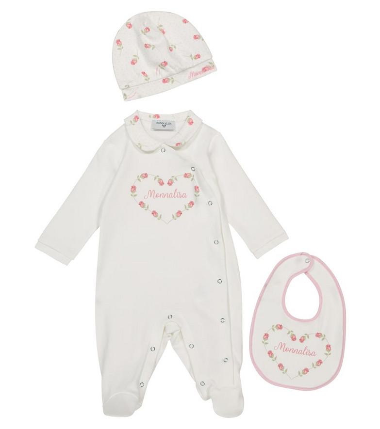 Monnalisa Baby cotton onesie, hat and bib set in white
