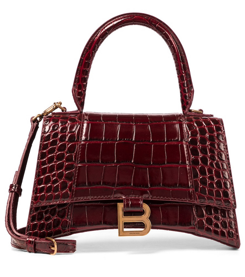 Balenciaga Hourglass Small leather tote in red