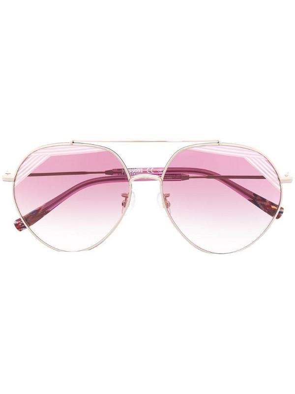 MISSONI EYEWEAR oversize double bridge sunglasses in silver