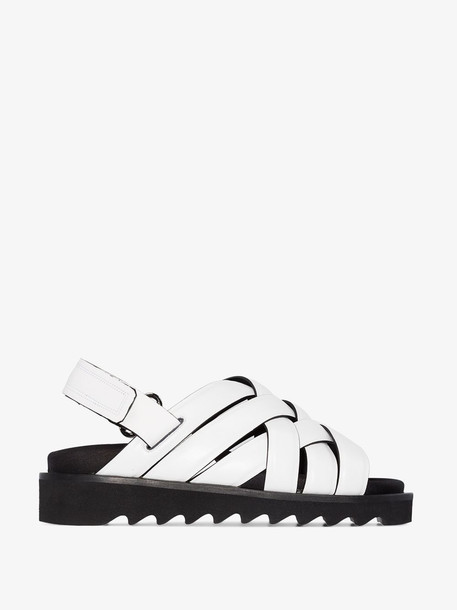 Rosetta Getty white woven leather flat sandals