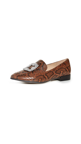 Villa Rouge Patrice Brooch Loafers in brown / multi