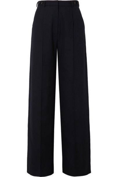 Rokh - Twill Wide-leg Pants - Navy