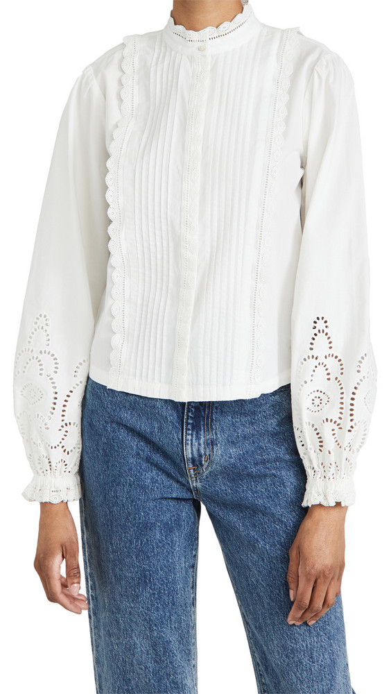 Scotch & Soda Crispy Cotton Top With Broderie Anglaise Details in white