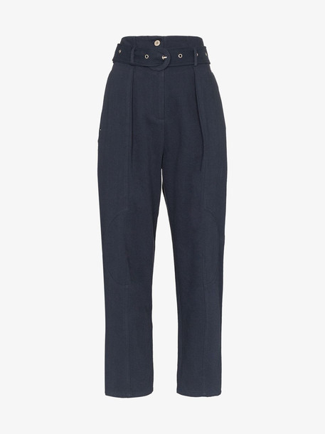 Low Classic high waist wide leg trousers in blue