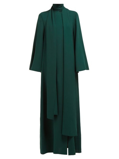 Carolina Herrera - Tie Neck Flared Sleeve Silk Gown - Womens - Green