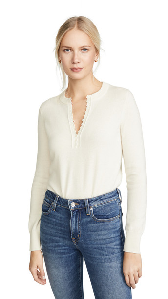 Theory Cashmere Button Henley in ivory