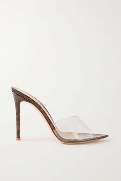 Gianvito Rossi - 105 Pvc And Leopard-print Patent-leather Mules - Clear