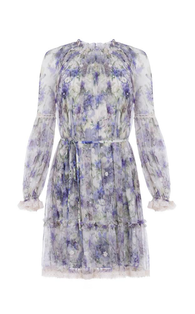 Needle & Thread Lilacs Ditsy Mini Dress in blue