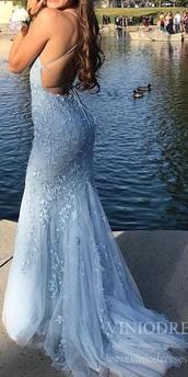 dress,prom dress,mermaid prom dress,blue dress,light blue