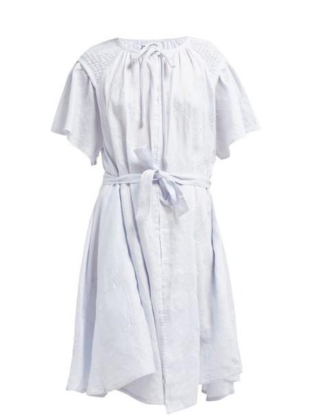 Innika Choo - Geometric Embroidered Smocked Linen Midi Dress - Womens - Light Blue
