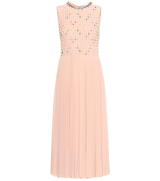 REDValentino Crystal-embellished pleated dress in pink
