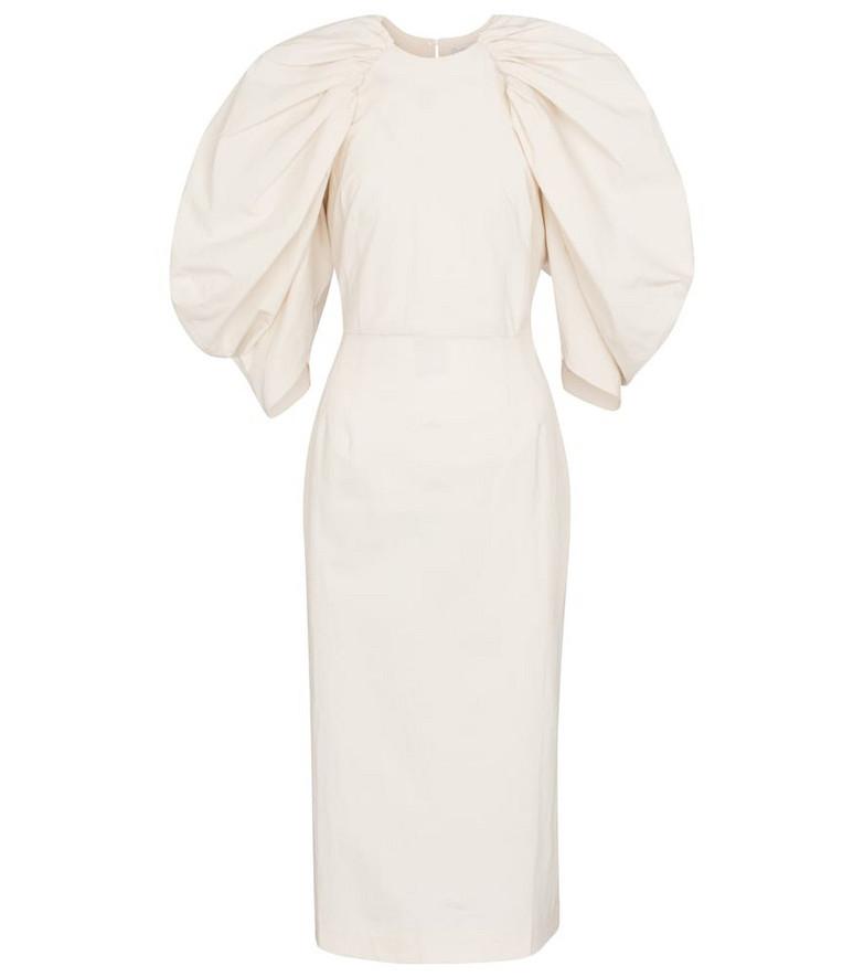 Deveaux New York Sasha cotton poplin midi dress in white